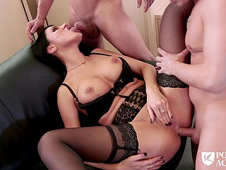 Bad teacher with brunette hair and big boobs won't be fired thanks to threesome fuck