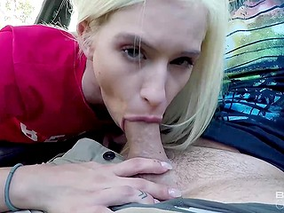 Blowjob in the car is the first challenge for the blonde who masturbates on the couch then