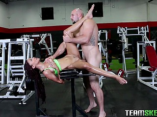 Bald giant's big cock gives the black girl with dreadlocks more pleasure than a gym workout