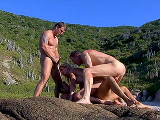 Friends find a picturesque place not to admire but to fuck all holes of the blonde slut with big tits