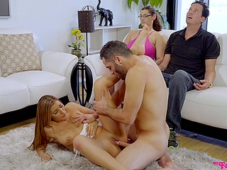 Homeowner and his wife accidentally hypnotizes himself and wife, so stepbrother can fuck the Latina