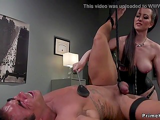 Strong guy was defenseless in front of his sultry femdom mistress with the strapon