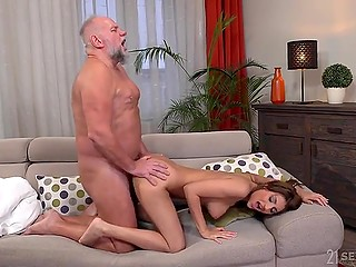 Wealthy old man enjoys retirement and tight pussy of the delightful young kept girl