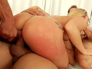 Lovely blonde with great rack AJ Applegate double penetrated during interracial gangbang sex