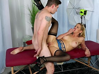 Enjoying sex with stepson is wrong, but the big-tittied MILF in stockings can't help herself