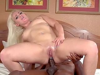 Blonde with beautiful face anally blacked with fat manhood during porn audition in the bedroom