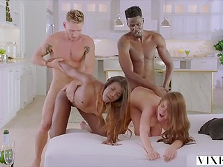 Swinger sex is an interesting experiment that the white and black couple decide to conduct