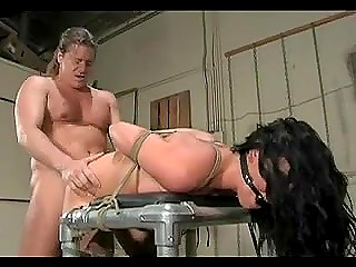 Helpless brunette facialized after hardcore sex with hung man full of fisting and bondage fetish