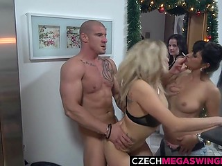 Some horny people decide to try swinger sex at the Czech party thrown in the apartment