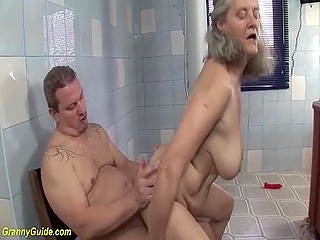 German finds a red dildo that he is going to use during sex with the old cleaning lady
