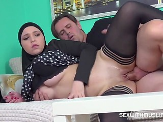 Arab girl in hijab and stockings takes landlord's penis in the smooth vagina to pay rent