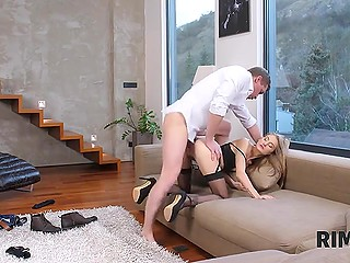 Girl loves guy and therefore wants to be the first who not only does it with him but also licks his ass