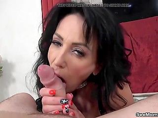 Raven-haired woman in leather outfit boosts stepson's mood by a blowjob on the camera