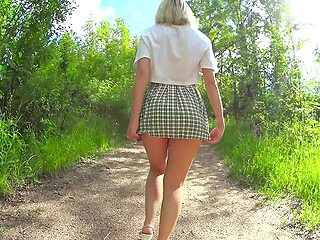 Girl isn't outraged when cameraman looks under skirt but simply shows her tits and ass