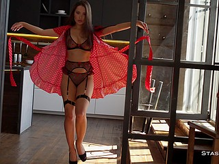 Stripper in red dress and black lingerie exploits cherry and cream in this tempting show