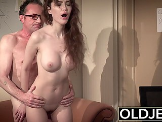 Beautiful brunette with round tits Gisha Forza has an affair with old boss in his spacious cabinet