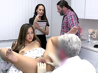 It's so wet and warm inside Asian that doctor doesn't want to take his finger out of her
