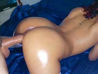Tanned wife in white stockings is pregnant so she allows husband to cum right inside her