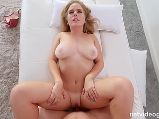Wondrous girl with lush hips sucks cock then the agent fucks her shaved pussy at the casting