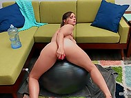 Viewers can watch approach of orgasm due to multiple frictions of dildo in the busty woman's pussy