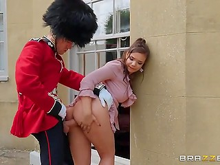 Queen's Guard leaves the post to fuck the seductive tourist Sofia Lee with big natural tits