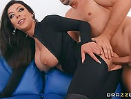 Goal of the big-boobied stunner Karma Rx in catsuit is to have sex with stepsister's husband