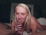 Cum swallowing after cocksucking is a usual thing for the young blonde with pretty face