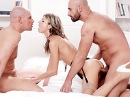 Russian cutie Gina Gerson looks innocent, but threesome fuck with bald friends shows her real nature