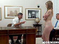In order for Mormons to open doors to church, girl needs to cum in front of them and give a blowjob