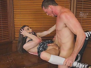 Charming ladyboy in search of work came to boss and gave ass to him for fucking for sake of the job