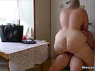 Attractive BBW blonde instead of cooking dinner is dragged into spontaneous sex with BF