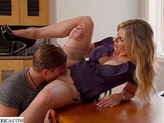 Blond MILF Cory Chase shares experience with student by permitting him to lick her